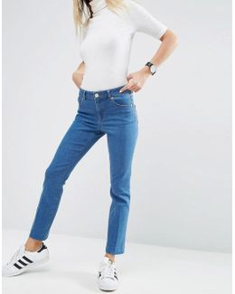 Pencil Straight Leg Jeans In Crystal Blue Wash