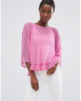 Loose Fit Top With Frill Hem