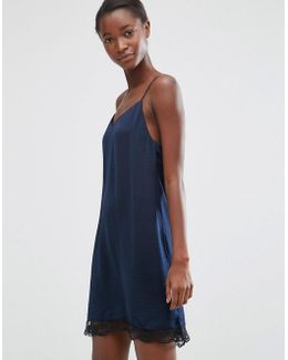 Slip Dress With Lace Hem