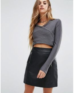 Rib Wrap Crop Top