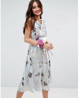 Wedding 40s Seamed Satin Midi Dress In Silver Rose Print