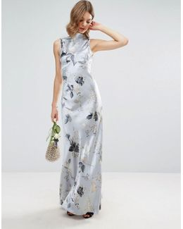 Wedding 40s Seamed Maxi Dress In Silver Rose Print