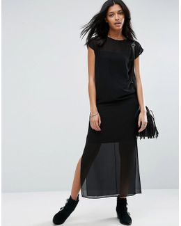 Sheer T-shirt Maxi Dress With Side Splits