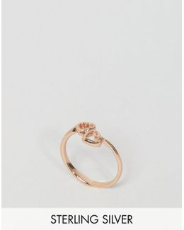 Rose Gold Plated Sterling Silver Open Heart Ring