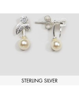 Sterling Silver Faux Pearl Leaf Swing Earrings