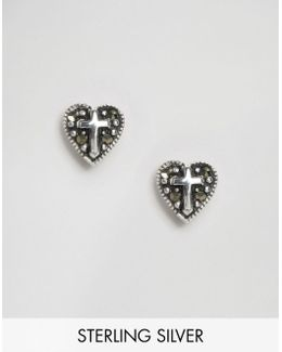 Sterling Silver Heart Cross Earrings