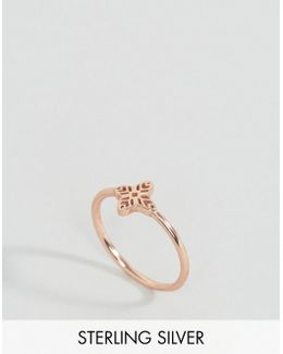 Rose Gold Plated Sterling Silver Filigree Ring
