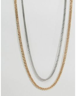 Midweight Chain 2 Pack In Gold And Silver