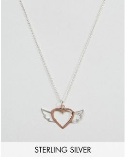 Rose Gold Plated Sterling Silver Heart Wing Necklace