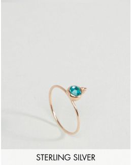 Rose Gold Plated Sterling Silver Birth Stone December Ring