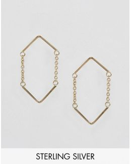 Gold Plated Sterling Silver Open Triangle Chain Earrings