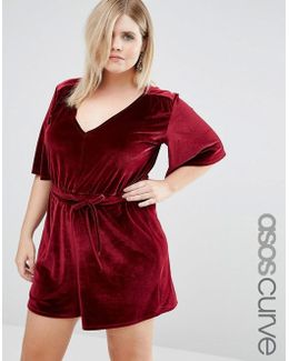 Deep Plunge Velvet Playsuit