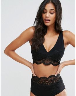 Fuller Bust Exclusive Premium Lace Applique Crop Bikini Top Dd-f