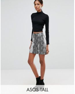 Snake Print Pu Mini Skirt