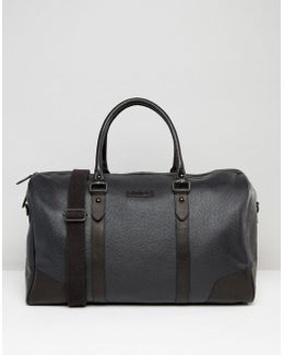 Barneys Structured Leather Holdall In Black