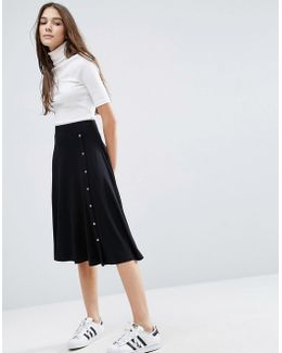 Midi Skirt With Asymmetric Poppers
