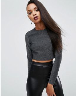 Night Crop Top In Metallic