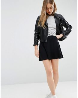 Mini Skater Skirt With Elastic Waist Detail