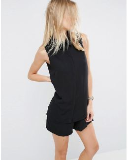 Minimal Playsuit With Shirt Detail