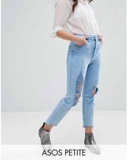 Farleigh High Waist Slim Mom Jeans In Fran Light Mottled Wash With Super Busts And Stepped Hem