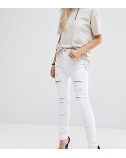 Ridley Full Length High Waist Skinny Jeans In White With Shredded Rips