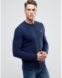 Crew Cable Knit Jumper Lambswool In Navy