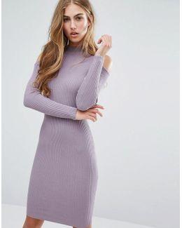 Cold Shoulder Rib Bodycon Dress