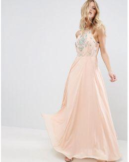 Cutaway Embellished Beaded Maxi Dress