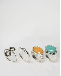 Pack Of 4 Spiral & Stone Rings
