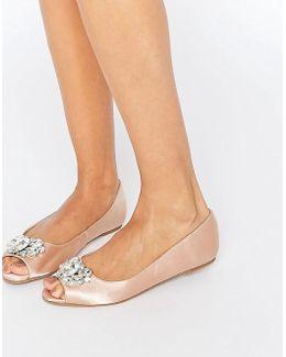 Ladybug Embellished Peep Toe Ballet Flats