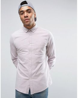 Casual Regular Fit Oxford Shirt With Neps In Pink