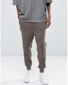 Tapered Biker Joggers With Zip Pockets In Grey