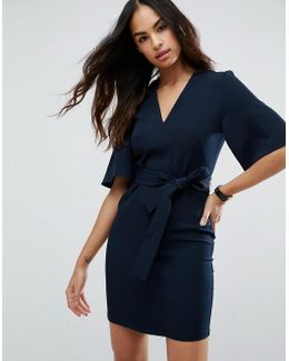 Clean Obi Tie Wrap Mini Dress