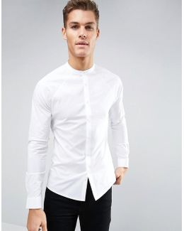 Skinny Shirt With Raglan Sleeve And Grandad Collar