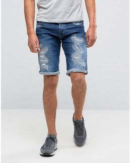 3301 Tapered Shorts With Abrasions