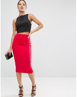 High Waisted Scuba Pencil Skirt