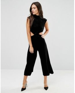 Jumpsuit With Cut Out Detail In Velvet