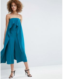 Bandeau Jumpsuit With Ruffle Overlayer