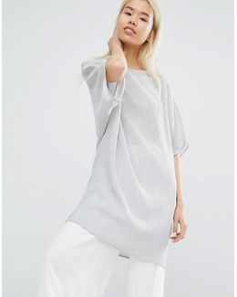 Oversized Longline Top In Crinkle Fabric
