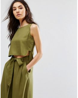 Sleeveless Top With Button Sides Co-ord