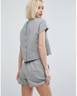 Button Back Top In Mini Gingham Co-ord