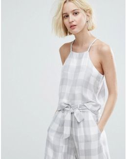 Cami Crop Top In Large Gingham Co-ord