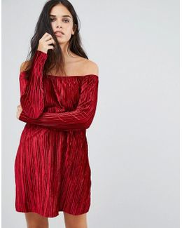Bardot Smock Velvet Dress With Sleeve