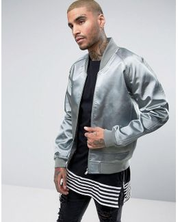Bomber Jacket With Sateen Panelling In Blue