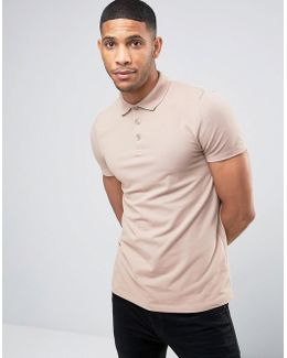 Muscle Pique Polo Shirt In Beige
