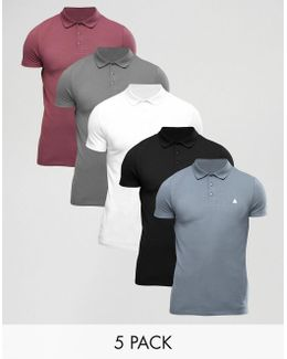 5 Pack Muscle Pique Polo Shirt With Logo Save
