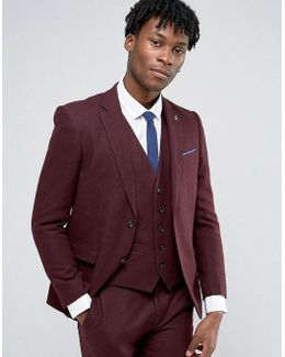 Formal Deep Burgundy Twill Suit Jacket