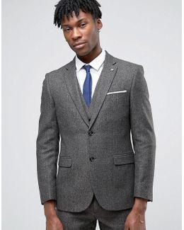 Formal Brown Herringbone Suit Jacket
