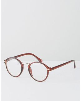 Round Clear Lens Glasses With Nose Bar