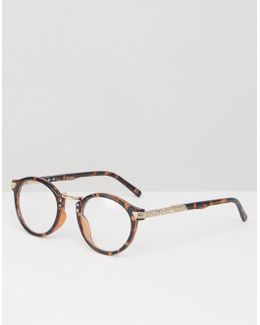 Vintage Round Clear Lens Glasses In Tort